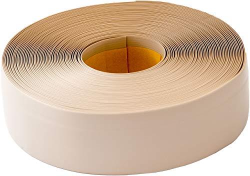 Weichsockelleiste selbstklebend, 25m Rolle, Sockelleiste für Laminat, Parkett und Vinyl, Winkelleiste aus Kunststoff, Abschlussleiste für Boden und Wand (hellbeige)
