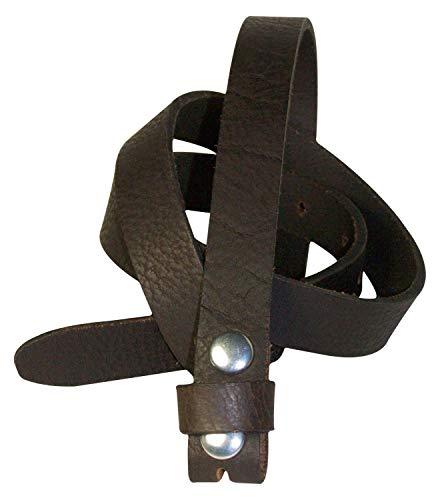 Fronhofer Fine ceinture de rechange en cuir pleine fleur de 2 cm de large sans boucle | Ceinture à bouton pression, Taille:Taille 95 cm, Couleur:Brun