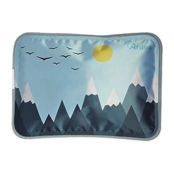 Ardes ARAM076 Chauffe-soleil Mio Soft en forme de coussin avec housse en polaire douce, bleu, chaud pour 6 heures, fantaisie bleu ciel avec Montagne