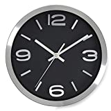 Bernhard Products Modern Wall Clock 10 Inch Black & Silver Silent Non Ticking Battery Operated Metal Round Elegant Quality Quartz, Kitchen Home Office Clock with 3D Numbers, Easy to Read