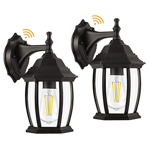 Outdoor Light Fixtures Wall Mount Dusk to Dawn, 2 Pack Outdoor Wall Lights with Photocell Sensor, Waterproof Porch Lights Outside Wall Sconce Lighting Exterior Wall Lantern for House, Garage, Doorway