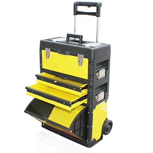 LIPENLI Multifunción portátil de mano Camiones Vehículos de reciclaje, Carro de Herramientas de la compra de 3 niveles de combinación tirón Rod Organizador multifuncional grande Caja de herramientas d