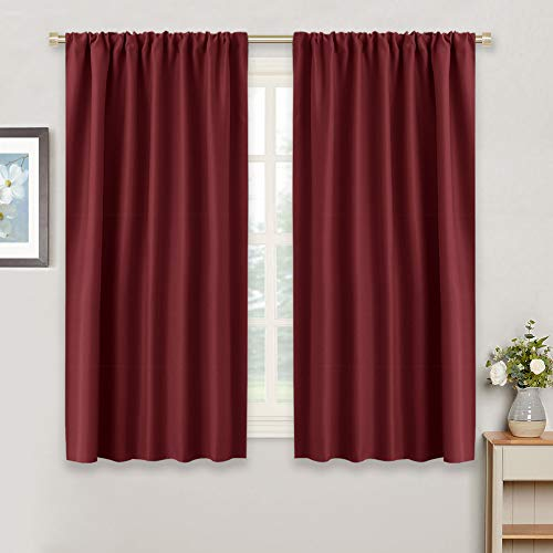 RYB HOME Small Window Curtains - Room Darkening Windows Coverings Light Block Energy Efficiency Solid Drapes for Bedroom Kitchen Dining Kids Nursery Cafe, W 42 x L 45, Burgundy Red, 2 Panels