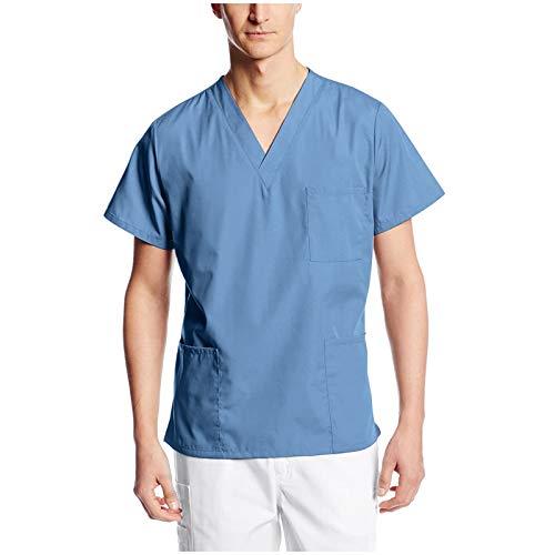 Medical_Scrub_Tops for Men Unisex Anatomy Shirts V Neck Short Sleeve Tops Nursing Working Uniform T-Shirts with Pockets Light Blue