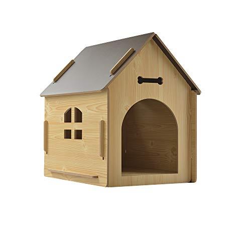 thematys® Hundehütte Indoor aus Holz I Hundebox Holz für große Hunde | Hundehaus für Drinnen und Draußen I Hundebett Schlafplatz für Haustiere I Hundehütte Outdoor geeignet Wetterfest und Kratzfest S