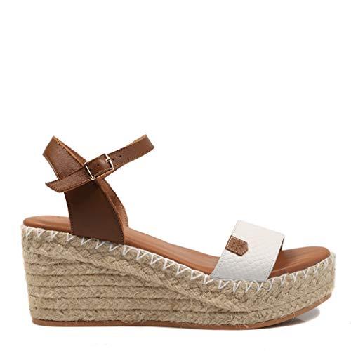 POPA Congo Bicolor Weiß 58401 018 Damen-Sandalen mit Keilabsatz, - weiß - Größe: 40 EU