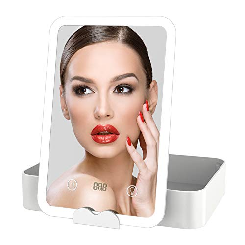 Vokmon Kosmetikspiegel mit Bleuchtung Schminkspiegel LED Licht Beleuchtet mit Blendfreier für Schminken Rasieren, Makeup Spiegel mit Touchschalter für Dimmbare Helligkeit