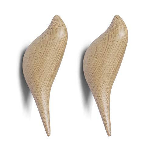 NIKKY HOME 2 Stück Mehrzweck-Wandhaken aus Harz Kleiderbügelhalter im Vogeldesign für Mantel Hut Handtuch Tasche Holzfarbe