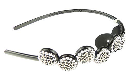 Dames Zwart Sparkly Alice band Hoofdband Met Crystal Circle