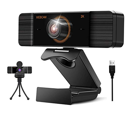 Aode Webcam for PC with Microphone 1440P FHD Webcam with Privacy Cover Plug and Play USB Web Camera for Desktop Computer Laptop Conference Meeting, Zoom, Skype, Facetime, Windows, Linux and MAC OS