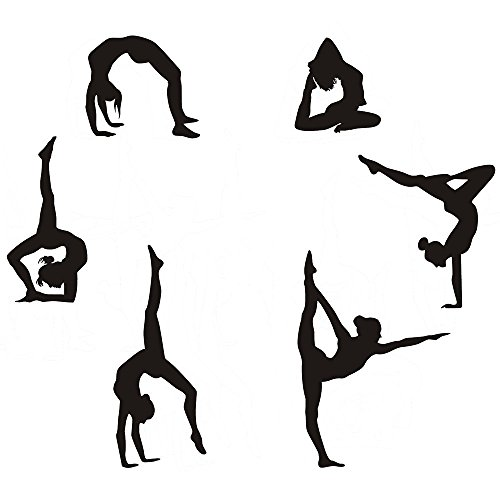 "Gymnastics Wall Decals Silhouettes Sport Art Girl Vinyl Decals Wall Sticker Fits Kids Room Decor Home Wall Decor Set of 6 (7.87""H X 23.62""W)"