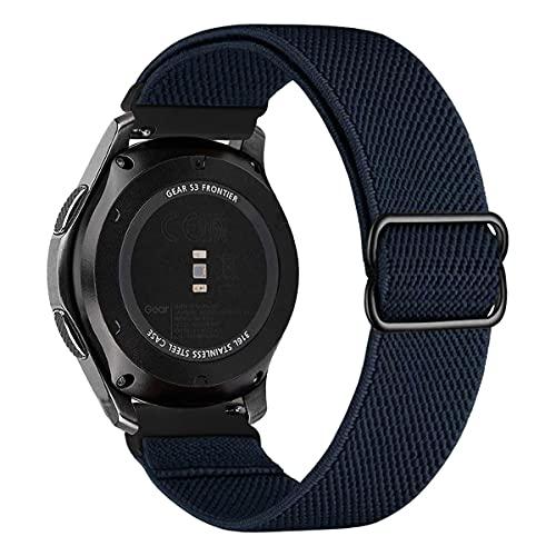 MroTech Compatible con Huawei Watch GT 2 46 mm/GT 2e/GT2 Pro Correa Nailon 22mm Pulseras Repuesto para Samsung Galaxy Watch 3 45mm/Gear S3 Frontier/Galaxy 46mm Banda Nylon Woven Sport Loop-Azul oscuro