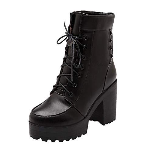 Damen Stiefel FGHYH Damen-Schnürstiefeletten mit runder Kappe und klobigen High-Heel-Rittern(38, Schwarz)