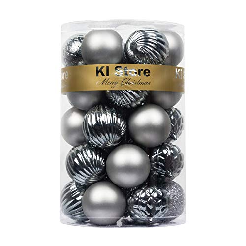KI Store Christmas Balls Gray Shatterproof Christmas Tree Ball Ornaments Decorations for Xmas Trees Wedding Party Home Decor 2.36-Inch Hooks Included