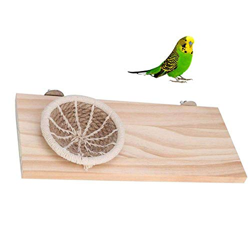 Canary Nest Pet Perch Cotton Rope Bird Breeding Wood Stand Platform for Small Animals Pigeon Parrot Parakeet Conure Budgie Gerbil Rat Mouse Chinchilla Hamster Cage Accessories Exercise Toy
