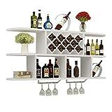 Jixi Casier à vin Montage Mural Wine Rack Creative Diamant en Forme de vin Cabinet avec Support métal et en Verre Multifonctionnel étagère de Rangement Range Bouteille (Color : White, Taille : 100cm)