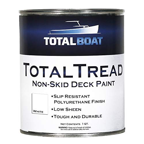 TotalBoat-409322 TotalTread Non-Skid Deck Paint, Marine-Grade Anti-Slip Traction Coating for Boats, Wood, Fiberglass, Aluminum, and Metals (White, Quart)