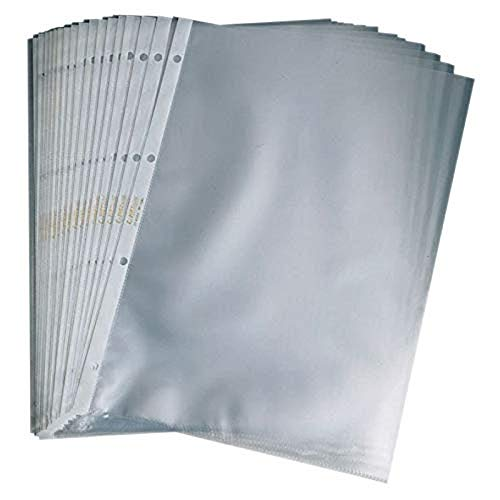 ACCO - Fundas perforadas de apertura superior (formato A5, lote de 100), transparente