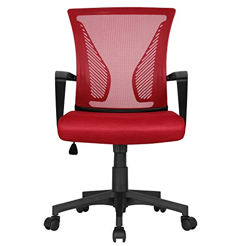 Yaheetech Ergonomic Office Chair Adjustable Desk Chair Swivel Chair with Back Support and Soft Padded Seat for Home Red