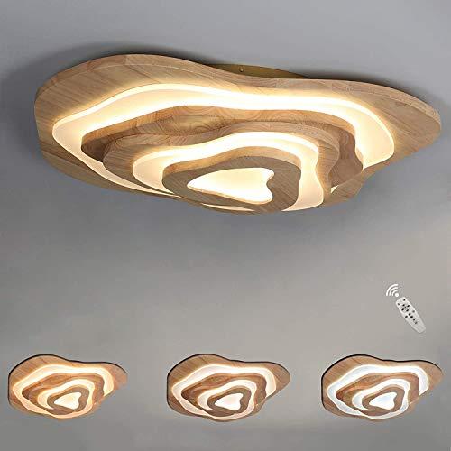 3-Etage LED Deckenleuchte Holz - Geölt Eiche Deckenlampe - Ring Dekorativ Acryl Schirm - Irreguläres Designlampen - Dimmbar Inkl. Fernbedienung - 50W - 3500lm - Ø60cm