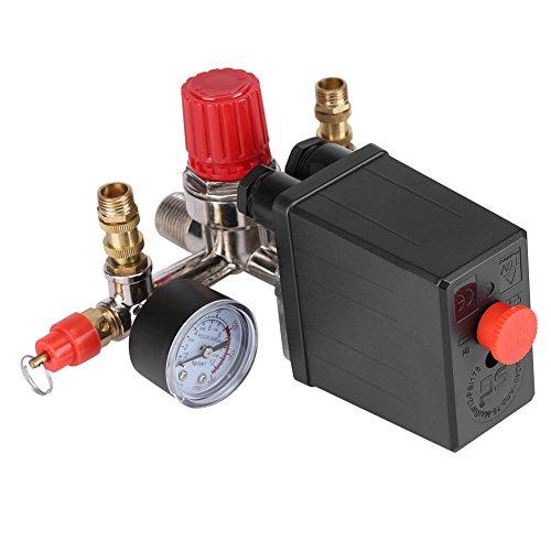 Regulador de Presión, Válvula de Presión Interruptor de Presión Válvula Reguladora con Manómetro Dobles 90-120 PSI para Compresor de Aire