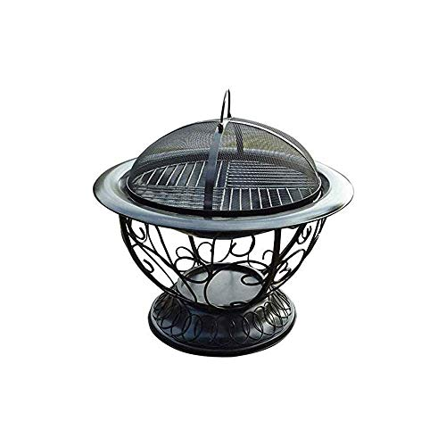 N/ A Cauldron Outdoor Fire Pit Deep Bonfire Wood Burning Patio & Backyard Firepit for Outside with Round Spark Screen,Fireplace Poker,and Metal Grate