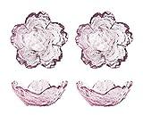 4pcs Glass Sakura Shape Seasoning Dishes Dipping Bowls Appetizer Plates