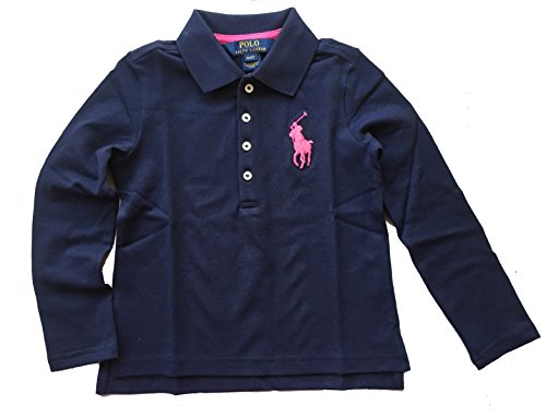 Ralph Lauren Little Girl Big Pony Long Sleeve Polo Shirt Size 6X NWT Navy