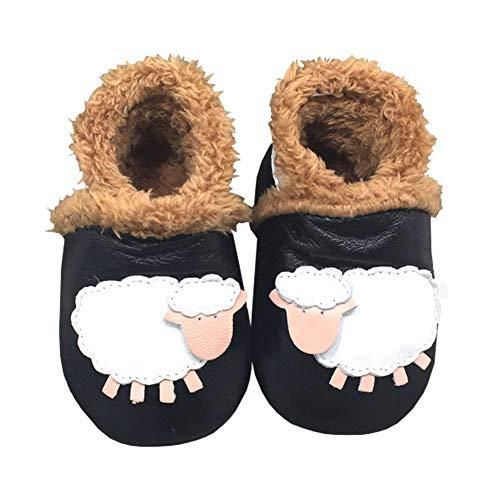 LPATTERN Baby/Kleinkind Jungen/Mädchen Winter Babyschuhe Lauflernschuhe Krabbelschuhe gefüttert, Weiß Schaf auf Schwarz, 20/21 EU(L: Innenlänge 13,5CM)