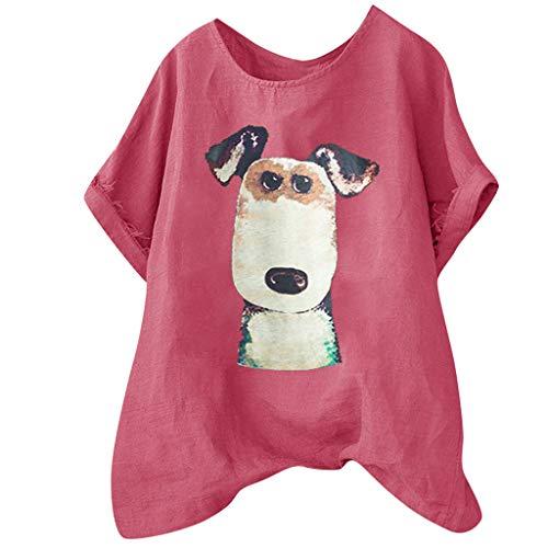 VEMOW Camisetas Mujer Blusas Casual Tallas Grandes Impresas Sueltas Botón de Lino Túnica Camisa Blusa Tops