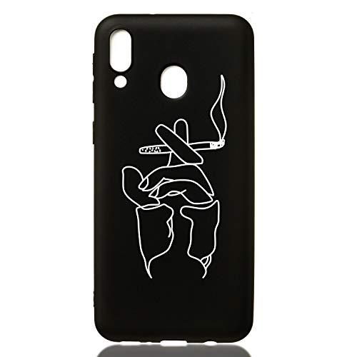 Everainy Compatibel met Samsung Galaxy M20 hoes silicone bumper, rubber, constellatie, ultradun, cover, hoesjes, telefoonhoes, schokbestendig, TPU, bumper, zwarte beschermhoes (vissen), Samsung Galaxy M20 2019, roken.