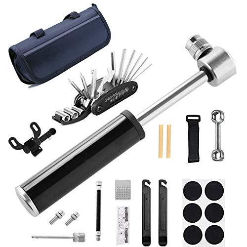 sfesnid Fahrrad Reparatur Werkzeug Set mit 120 PSI Mini Fahrradpumpe Alu, Multitool, Reifenheber und Selbstklebendes Fahrrad Flicken