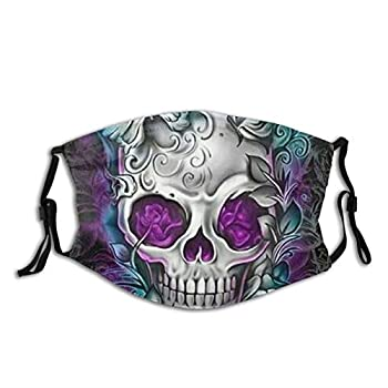 Butterfly Cool Sugar Skull Designs Face Mask With Filter Pocket Washable Reusable Face Bandanas Balaclava With 2 Pcs Filters