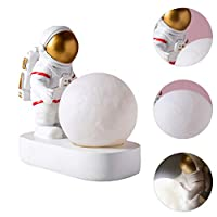VORCOOL ムーンナイトライト宇宙飛行士ナイトランプ宇宙飛行士置物装飾ベッドサイドランプレジンナイトライトデスクトップデコレーションオーナメント(ゴールデン)