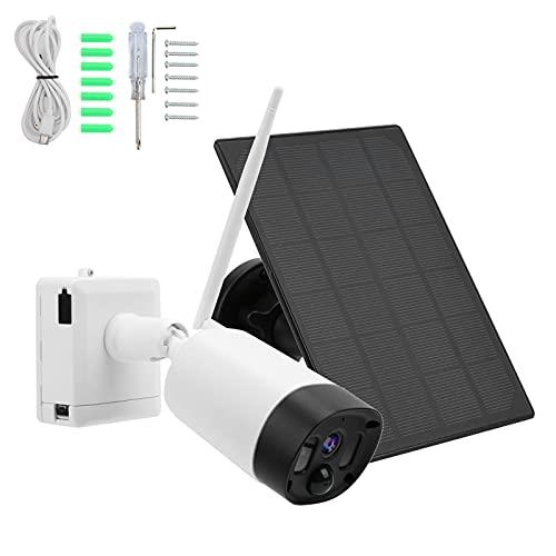 Telecamera di sorveglianza WiFi per esterni, con pannello solare, senza fili, con sensore di movimento, 1080p, audio a 2 vie, impermeabile IP65