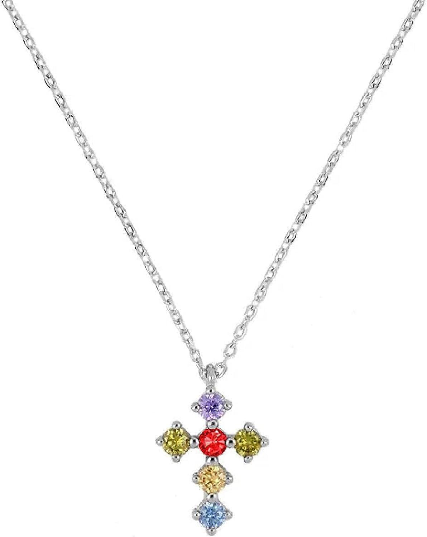 Necklace For Women Jewelry Fancy Diamond Cross Rainbow Chain Choker Necklace Collar