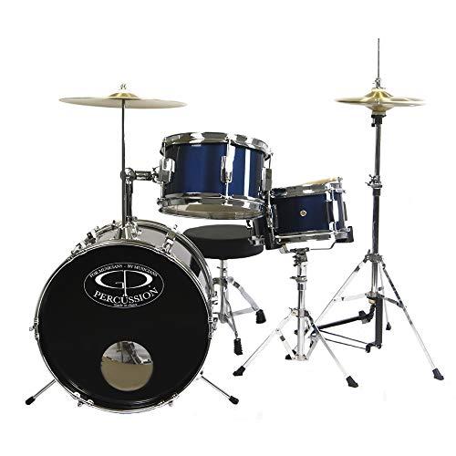 GP Percussion GP50MRB - Juego completo de tambores para niños, color azul metálico (3 piezas)