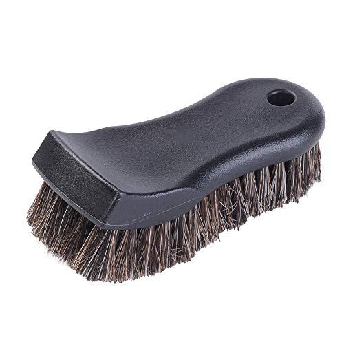 JSCARLIFE Cepillo de limpieza interior de pelo de caballo All Black Style para cuero, vinilo, tela, etc., antideslizante, cepillo de pelo de caballo, cepillo de limpieza sin arañazos para cuero