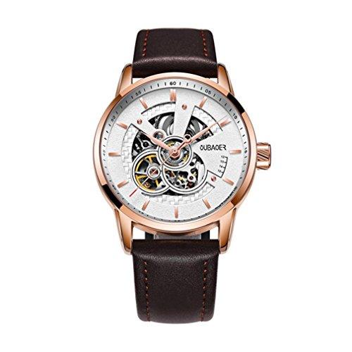 XINLEE Herrenuhr Zeiger wasserdichtem Leder Gürtel automatische mechanische Uhr, 004