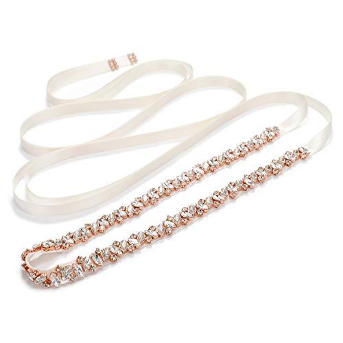 SWEETV Cinturón de novia de diamantes de imitación Faja de dama de honor Cinturón de boda de cristal para vestido de fiesta Vestido de noche, Oro rosa