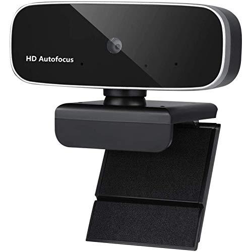 Webcam con micrófono para escritorio, Full HD 1080p Webcam para PC portátil, autofoco, Plug and Play, cámaras web flexibles giratorias para videollamadas, conferencias, curso en línea