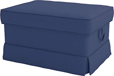 Cotton Ektorp Ottoman Cover Replacement is Custom Made Slipcover for IKEA Ektorp Footstool Cover (Deep Blue Ottoman)