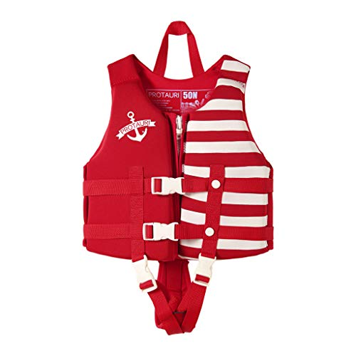 Toddler Swim Vest, Floaties for Toddlers, Kid Vest Floation Swimsuit Swimwear with Adjustable Safety Strap for Unisex Children, Stripes Red S 8-18kg/17.6-39.6lb Age 1-3
