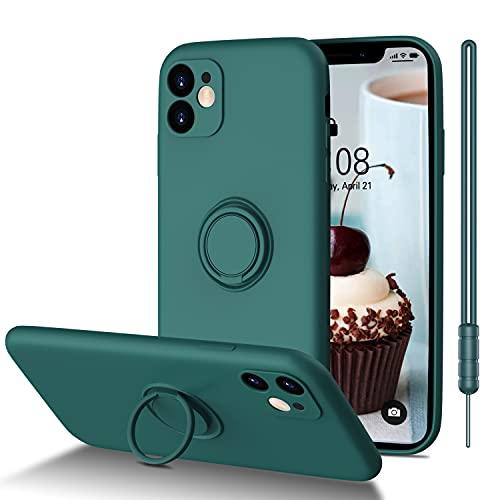 ORDA Carcasa para iPhone 11, ultrafina, con soporte de anillo 360º, de silicona suave, mate, resistente a los arañazos, color verde mate