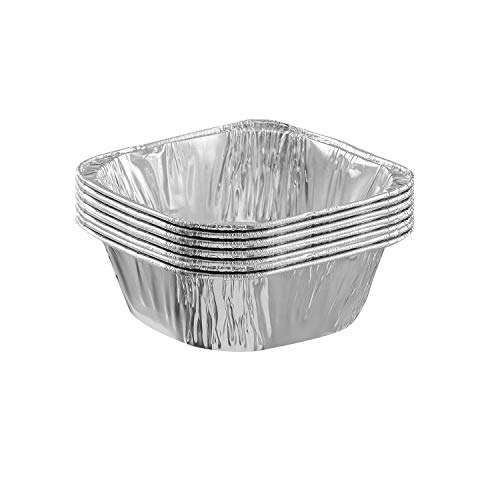 125 Pack 4' Square Disposable Aluminum Cake Pans - Small Pie Tin Foil Pans Perfect for Baking Cakes, Roasting, Homemade breads - Pack of 125