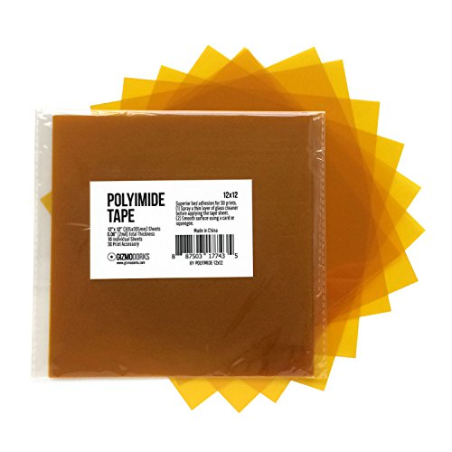 Gizmo Dorks Kapton Tape (Polyimide) for 3D Printers and Printing, 12 x 12 inches, 10 Sheets per Pack