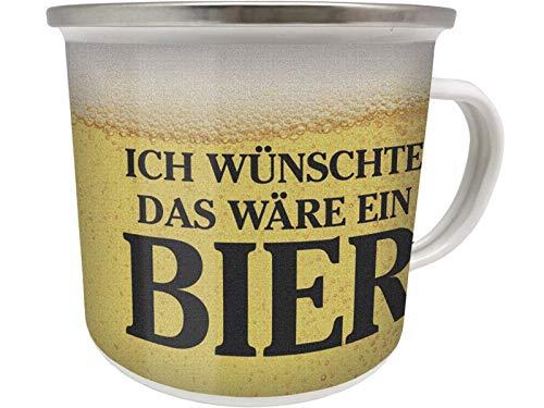 Blechwaren Fabrik Braunschweig GmbH Emaille Becher 0,5 L - ICH WÜNSCHTE DAS WÄRE EIN Bier - EB31 Tasse Beer PILS