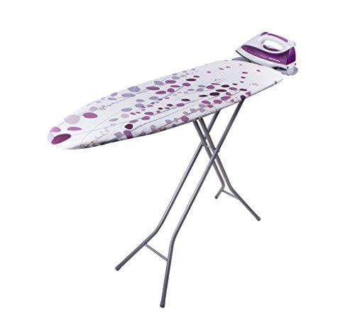 Orbegozo TP2000 Tabla de Planchar, Fabricada en Rejilla de Acero, Funda de Algodón, Soporte para Centros de Planchado, Blanca y Lila, 114 X 36 cm