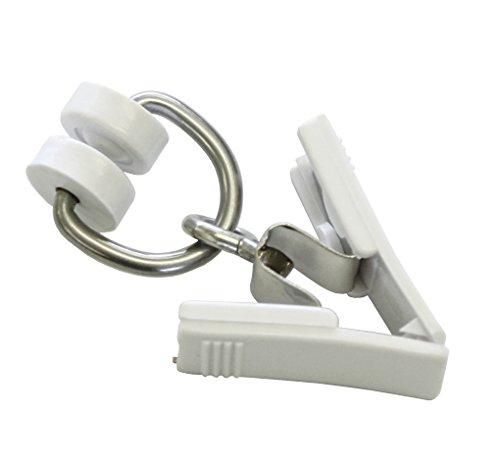 GARDINIA 115 T-Rollringe mit Kunststoff-Klammern für T-Schienen, 20 Stück, 15.9 x 8.8 x 0.021 cm,Weiß
