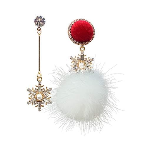 KESYOO Brincos de Natal Brilhantes Floco de Neve Pom Pom Brincos de Bola de Pele Falsa Brincos de Natal Argola Brincos de Presente de Natal Joias para Mulheres Meninas